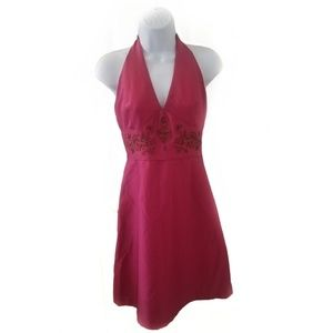 Laundry plum  silk halter dress